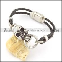 genuine leather bracelet in stainless steel b001968