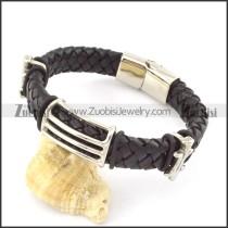 genuine leather bracelet in stainless steel b001916
