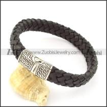 genuine leather bracelet in stainless steel b001898