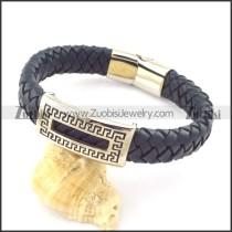 genuine leather bracelet in stainless steel b001965