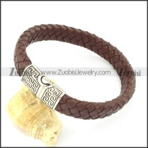 genuine leather bracelet in stainless steel b001899