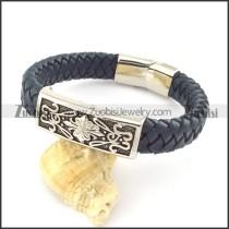 genuine leather bracelet in stainless steel b001950