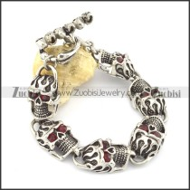 6 fire skull heads bracelet in 8.4 inch with skull OT buckle b002049