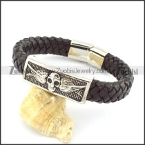 genuine leather bracelet in stainless steel b001940