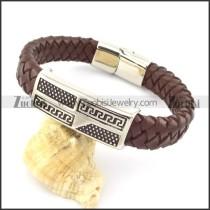 genuine leather bracelet in stainless steel b001961
