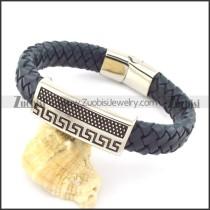 genuine leather bracelet in stainless steel b001959