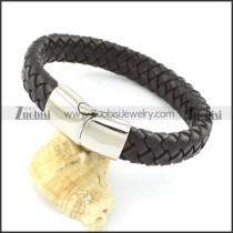 genuine leather bracelet in stainless steel b001895