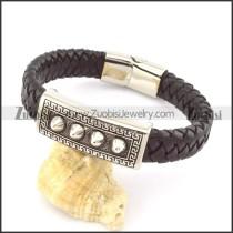 genuine leather bracelet in stainless steel b001954
