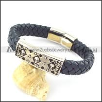 genuine leather bracelet in stainless steel b001939