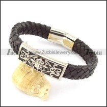 genuine leather bracelet in stainless steel b001948