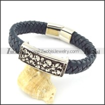 genuine leather bracelet in stainless steel b001943