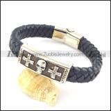 genuine leather bracelet in stainless steel b001936