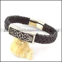 genuine leather bracelet in stainless steel b001951