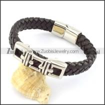 genuine leather bracelet in stainless steel b001904