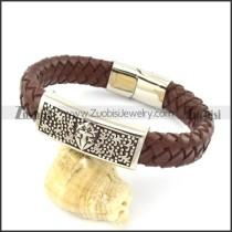 genuine leather bracelet in stainless steel b001946