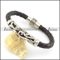 genuine leather bracelet in stainless steel b001887