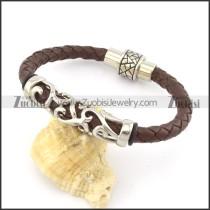 genuine leather bracelet in stainless steel b001885