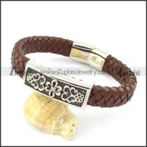 genuine leather bracelet in stainless steel b001952