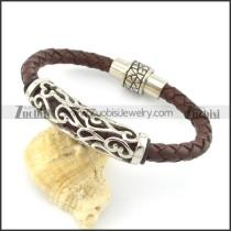 genuine leather bracelet in stainless steel b001891