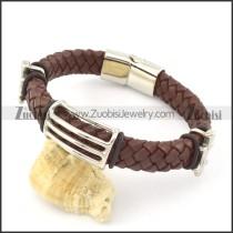 genuine leather bracelet in stainless steel b001917