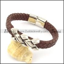 genuine leather bracelet in stainless steel b001914