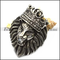 vintage steel lion pendant with bling rhinestones p007559