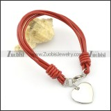 Stainless steel heart-shaped pendant deep red leather rope bracelet b002309