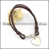 Stainless steel heart-shaped pendant Brown Leather Rope Bracelet b002306
