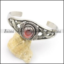 316L stainless steel snake bangle with round cardinal color stone b002492
