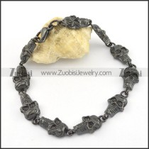 10 small black skull heads bracelet for biker b002341