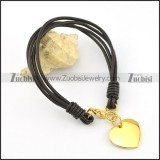 A gold-plated heart Stainless Steel Pendant Leather Rope Bracelet b002310