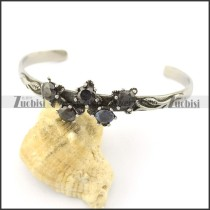 black zircon flower bangle b002301