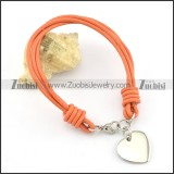 Stainless steel heart-shaped pendant Orange Red Leather Rope Bracelet b002308