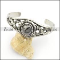 stainless steel snake bangle with round hematite color stone b002493