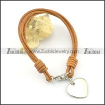 Stainless steel heart-shaped pendant Yellow Leather Rope Bracelet b002307