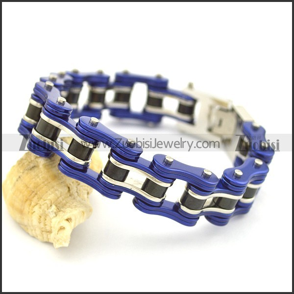Blue Stainless Steel Bike Chain Bracelet for Men b002663