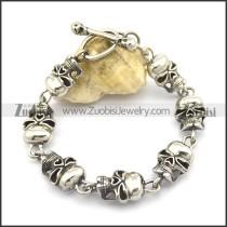21cm long 7 skull heads bracelet with skull OT buckle b002781