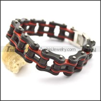 Red and Black Bike Chain Bracelet for Men b002829