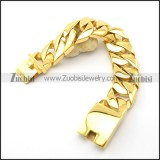 21cm Long Gold Finished Stainless Steel Men's Chunky Curb Bracelet b003065