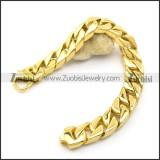 8.8 inch Shiny Gold Plating Curb-link Bracelet b003064
