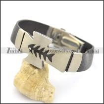 Fishbone Cross Rubber Bracelet b002978