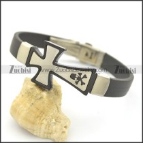 Crossbone Rubber Bracelet with Big Stainless Steel Cross Charm b002977