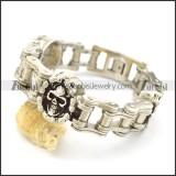 Bike Chain Bracelet with 3 Skull Chain Charms b003377