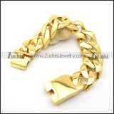 26mm Wide Gold Stainless Steel Chunky Curb Bracelet b003066