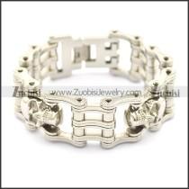 Biker Jewelry Silver Tone with Skulls Bike Chain Bracelet b002832