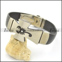 Stainless Steel Scorpion Cross Shaped Rubber Bracelet b002979