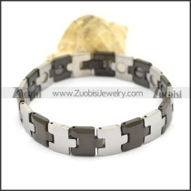 Silver and Black Tungsten Bracelet b003518