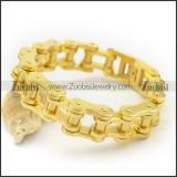18mm Gold-plating Stainless Steel Bike Chain Link Bracelet for Unisex b003485
