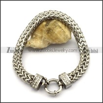 Silver Tone Herringbone Stainless Steel Chain Bracelet b003581