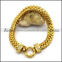 Yellow Gold Herringbone Stainless Steel Chain Bracelet b003582